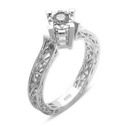 Ring aus 585 Weissgold mit einem 0,15 Karat Diamanten