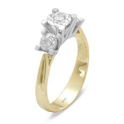 Ring aus 585 Weissgold/Gelbgold mit 0,08 und 0,1 Karat Diamanten