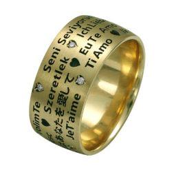 """Ring aus 585 Gelbgold mit 0,05 Karat Diamanten - """"Ich liebe dich"""""""