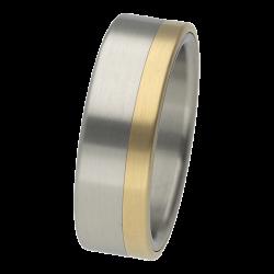 Ring aus Edelstahl mit 750er Gelbgold